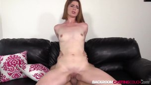 Tight amateur Kate fed cum after anal riding interview